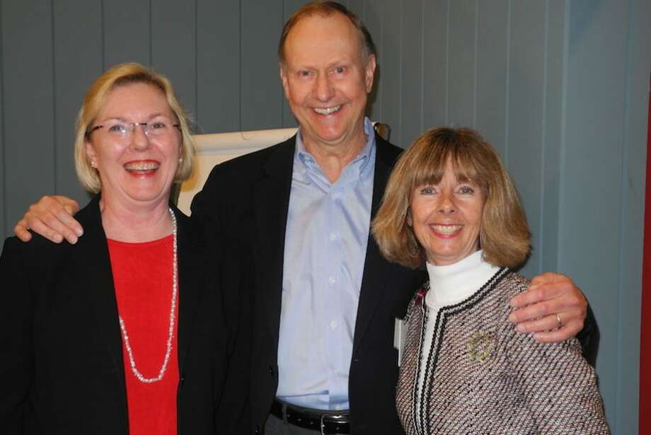 From left, Selectwoman Deborah McFadden, Ken Edgar, chairman of the board of directors, and Sharon Bradley, president and CEO of Visiting Nurse & Hospice of Fairfield County. — Jeannette Ross/Hearst Connecticut Media