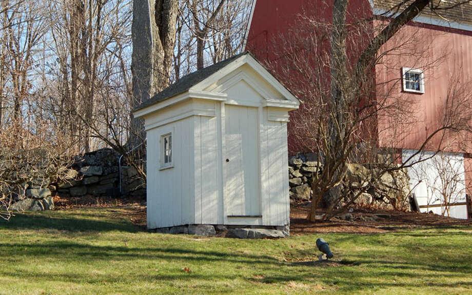 A Greek Revival privy is one of the historical buildings at Lambert Corner, 150 Danbury Road. —Kendra Baker photo