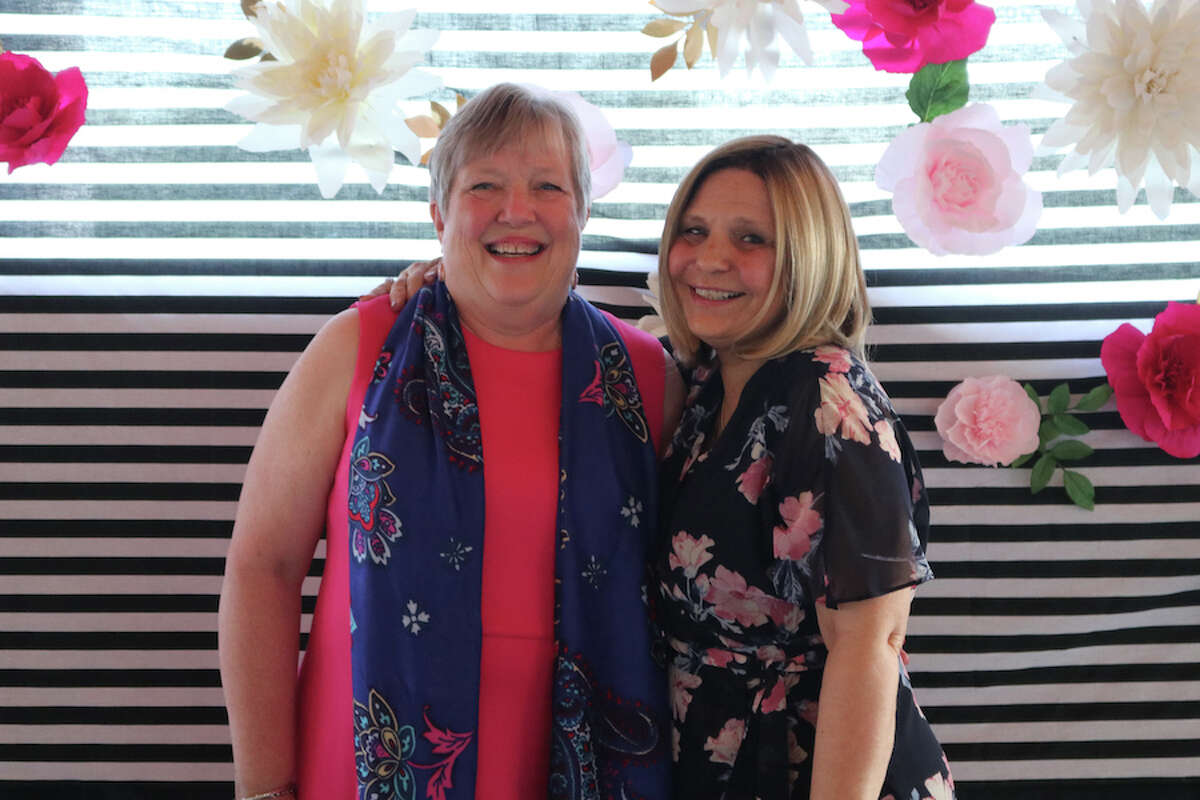 Patty O'Shea, left, and Geri Galasso were honored at Our Lady of Fatima School's Pink Gala