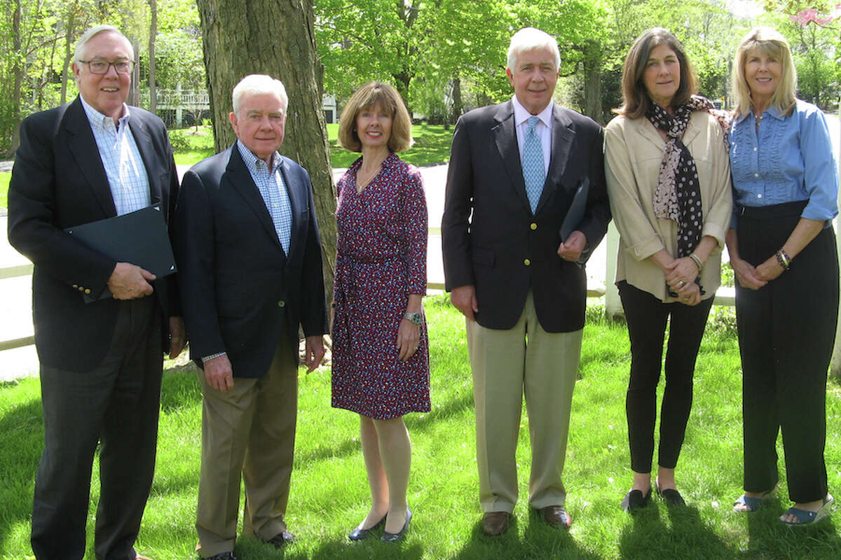 The volunteers of Visiting Nurse & Hospice of Fairfield County in Wilton were honored at a recent awards ceremony and luncheon. From left are Marty Clancy of Wilton, Paul Cahill of Westport, agency CEO Sharon Bradley, Hal Higby of Wilton, Macgregor Onderdonk of Wilton, and Janice Hess of Wilton.