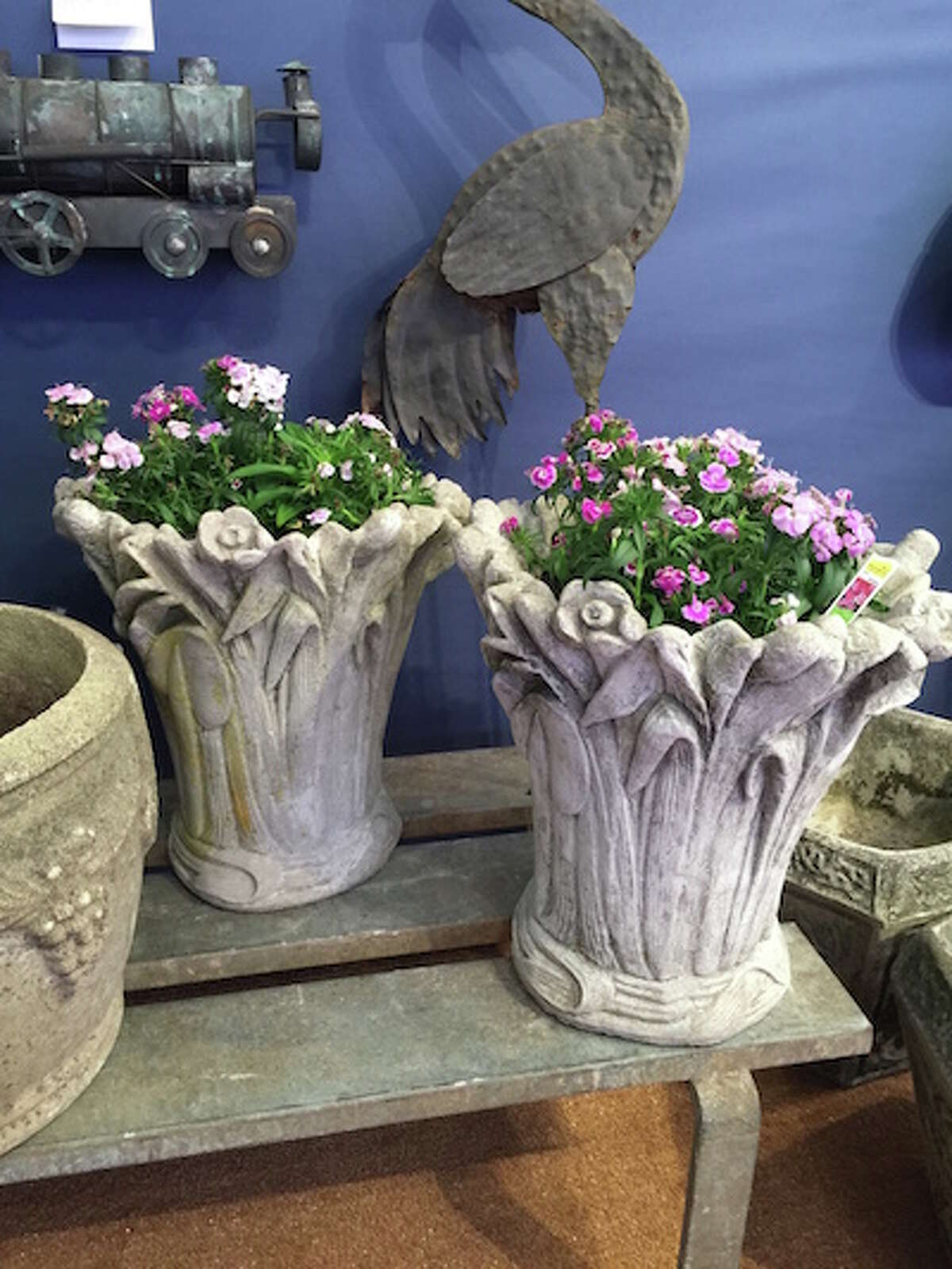 Garden urns offered at last year's show.