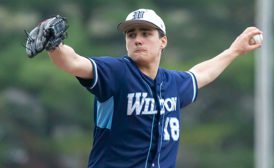 Mike Angerame throws a pitch during a recent Wilton High game. — GretchenMcMahonPhotography.com