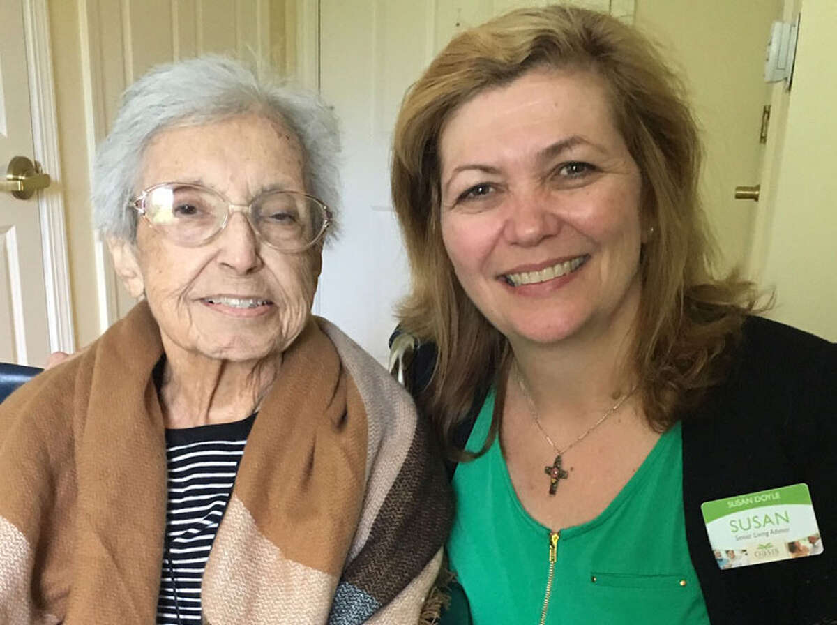 """Susan Doyle of Oasis Senior Advisors, right, with """"Kitty,"""" a client she helped place in an assisted-living community. Contributed photo"""