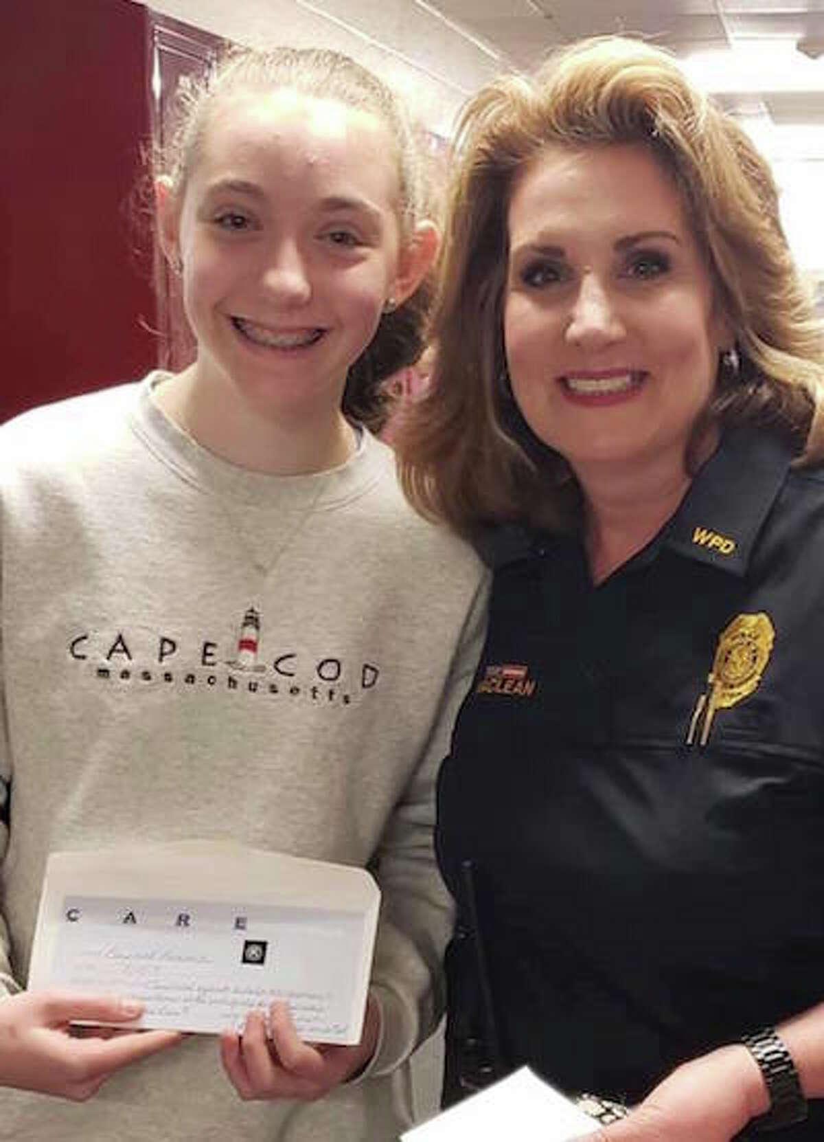 Middlebrook student Elizabeth Lamond with School Resource Officer Diane MacLean. - Wilton Police Dept. Facebook photo