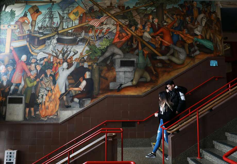 The San Francisco school board voted on June 25 to get rid of or cover the historic mural at George Washington High School, which depicts the treatment of American Indians and African Americans. Photo: Yalonda M. James / The Chronicle