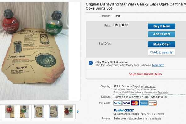 Listings for laminated menus from Oga's Cantina and bottles of Coca Cola that could pass for a bounty hunter's thermal detonators abound on ebay, with asks of up to $125.