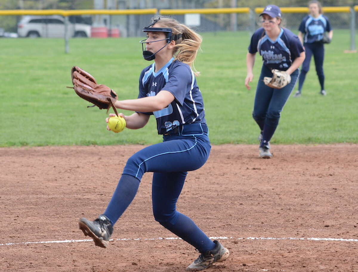 Claire Wilson throws a pitch during Wilton's 3-2 loss to Warde. - Andy Hutchison photo