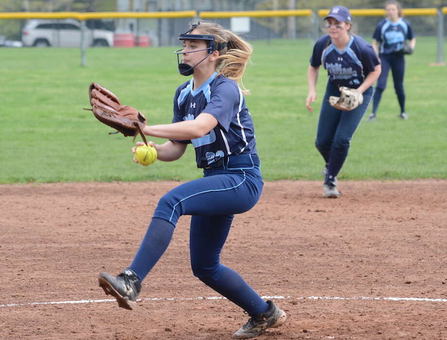 Claire Wilson throws a pitch during Wilton's 3-2 loss to Warde. — Andy Hutchison photo