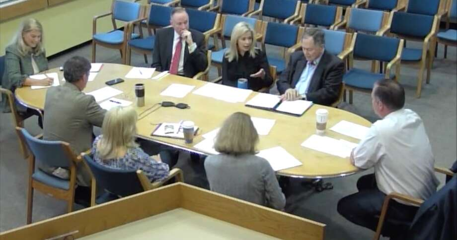 Darien board heads had a conversation about intra-board communication at the Operations Planning Committee on May 23 — courtesy Darien TV79. From far-right, counter clockwise, Planning & Zoning Chairman John Sini at the end of the table, RTM Moderator Seth Morton, Board of Ed Chairman Tara Ochman, First Selectman Jayme Stevenson, P&Z Vice Chairman Steve Olvany, and Selectman Susan Marks.