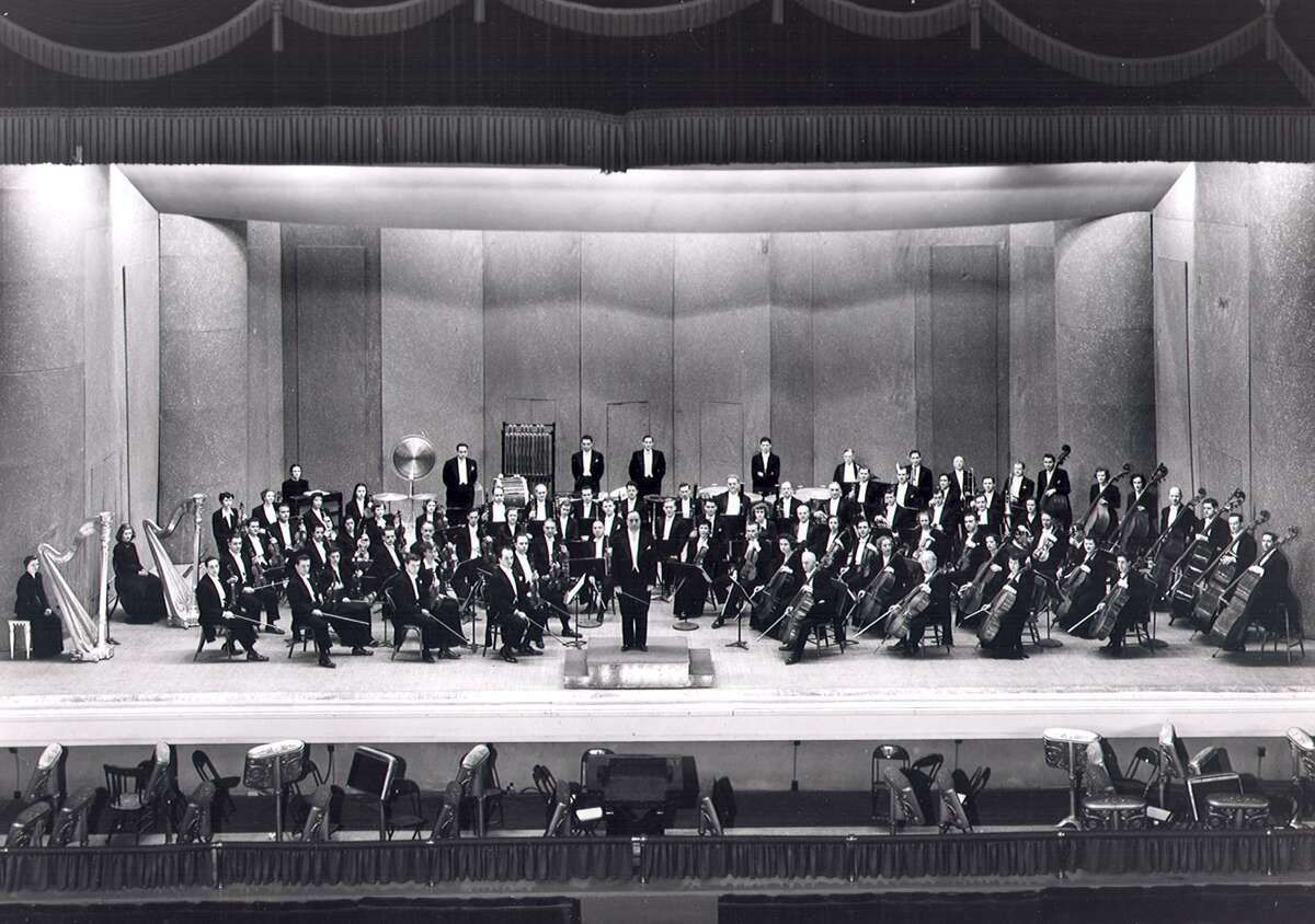 Max Reiter and the San Antonio Symphony at Municipal Auditorium in the 1940s. Reiter began the San Antonio Symphony during a challenging time in the city's history - 80 years later, the symphony lives on.