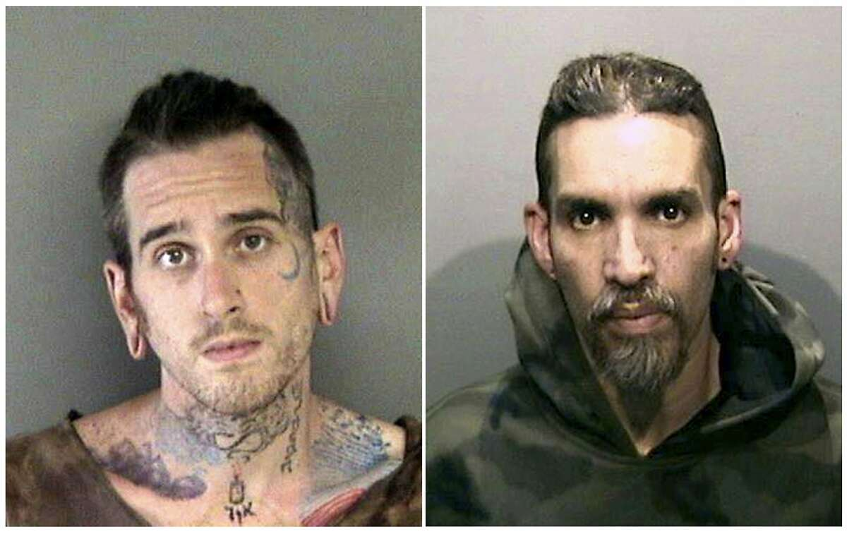 This combination of June 2017 booking photos provided by the Alameda County Sheriff's Office shows Max Harris, left, and Derick Almena at Santa Rita Jail.