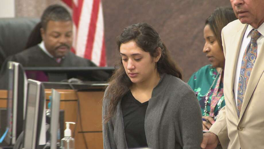 Veronica Rivas appeared in court March 2, 2018. State District Judge George Powell set the conditions of her release, which included a total ban on driving and home confinement unless she has to go to court. She will also have to wear a GPS monitor to ensure she does not leave her home without permission. Photo: By Brian Rogers