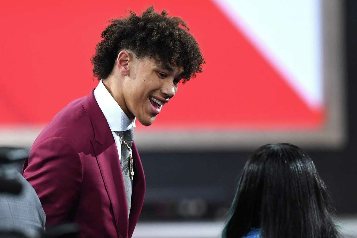 NEW YORK, NEW YORK - JUNE 20: Jaxson Hayes reacts after being drafted with the eighth overall pick by the Atlanta Hawks during the 2019 NBA Draft at the Barclays Center on June 20, 2019 in the Brooklyn borough of New York City. NOTE TO