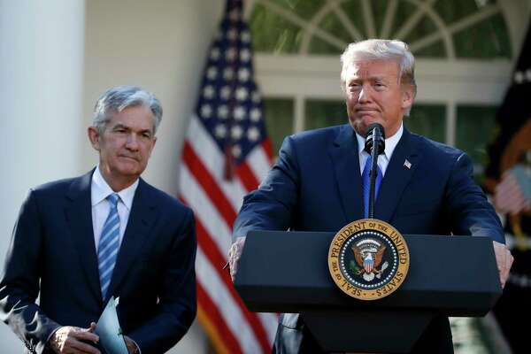 FILE - In this Nov. 2, 2017, file photo President Donald Trump announces Federal Reserve board member Jerome Powell as his nominee for the next chair of the Federal Reserve in the Rose Garden of the White House in Washington. Trump is keeping up his attacks on Federal Reserve Chairman Powell, saying he ?made? Powell but now would like to trade him in for Mario Draghi, the head of the European Central Bank. (AP Photo/Alex Brandon, File)