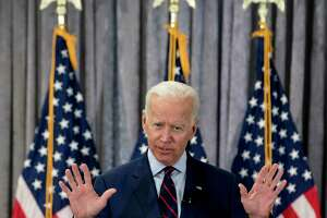 Former Vice President Joe Biden, a 2020 Democratic presidential hopeful, speaks during a town all meeting with a group of educators from the American Federation of Teachers on Tuesday, May 28, 2019, in Houston.