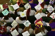 Attendees listen to Sage Cowit give the valedictory address during the Ballston Spa High School graduation ceremony at Saratoga Performing Arts Center on Wednesday, June 26, 2019 in Saratoga Springs, N.Y. (Lori Van Buren/Times Union)