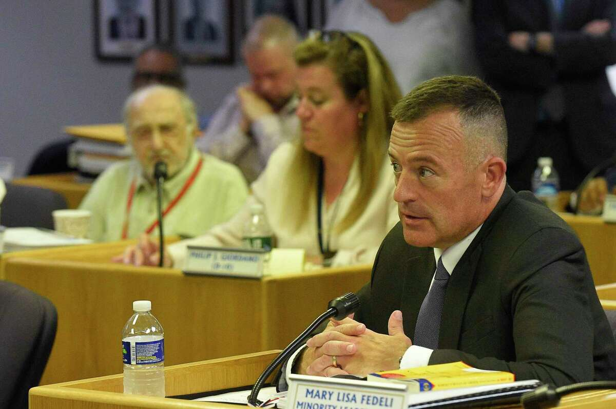 Chris Murtha faced a line of questions by Stamford's Representatives on the cities Appointment Committee before hundreds of residents packed in the Legislative Chambers of the Government Center on June 22, 2019, in Stamford, Connecticut, as he was hoping to become Stamford's next police chief.