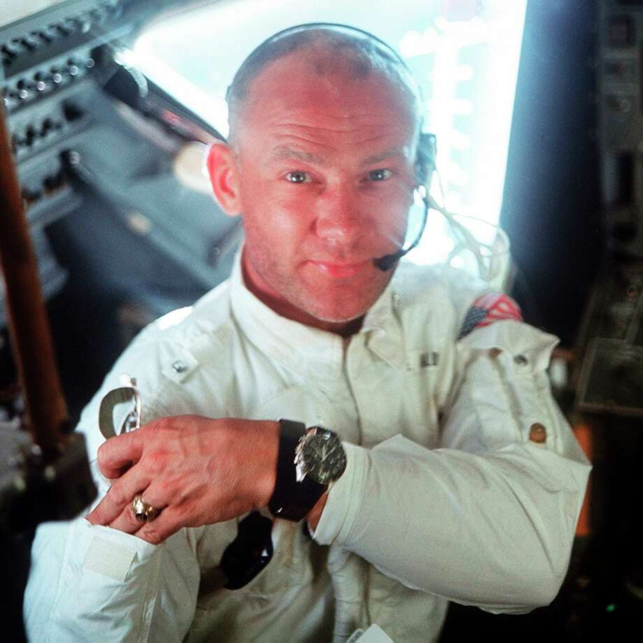 "This July 20, 1969 photo made available by NASA shows pilot Edwin ""Buzz"" Aldrin in the Apollo 11 Lunar Module. For the 50th anniversary of the landing, Omega issued a limited edition Speedmaster watch, a tribute to the one that Aldrin wore to the moon. (Neil Armstrong/NASA via AP) Photo: Neil Armstrong / Neil Armstrong/NASA / NASA"