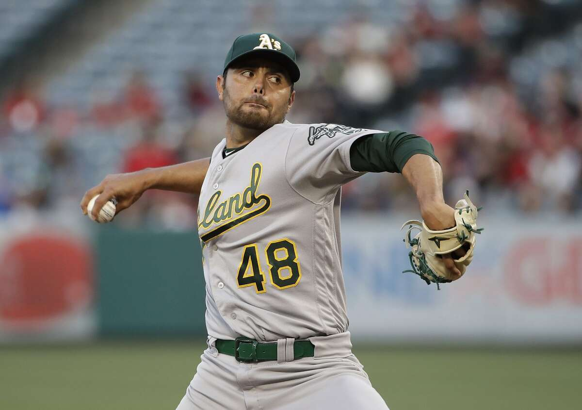Oakland Athletics starting pitcher Joakim Soria throws to a Los Angeles Angels batter during the first inning of a baseball game Wednesday, June 5, 2019, in Anaheim, Calif. (AP Photo/Marcio Jose Sanchez)