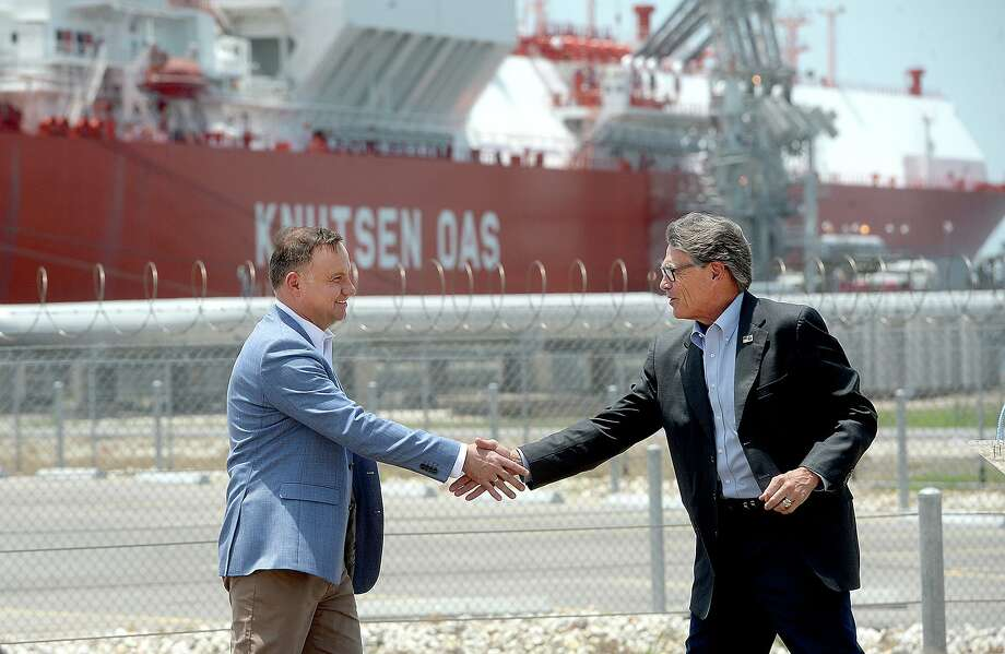 Polish President Andrzej Duda and U. S. Secretary of Energy Rick Perry shake hands following their joint press conference at Cheniere's Sabine Pass LNG facility, in Cameron Parish, LA, Friday. Photo taken Friday, June 14, 2019 Kim Brent/The Enterprise Photo: Kim Brent / The Enterprise / BEN