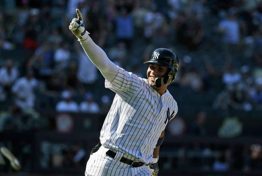 New York Yankees' Gleyber Torres reacts after hitting a walk-off RBI single during the ninth inning of a baseball game at Yankee Stadium, Wednesday, June 26, 2019, in New York. The Yankees defeated the Blue Jays 8-7. (AP Photo/Seth Wenig) Photo: Seth Wenig / Copyright 2019 The Associated Press. All rights reserved.