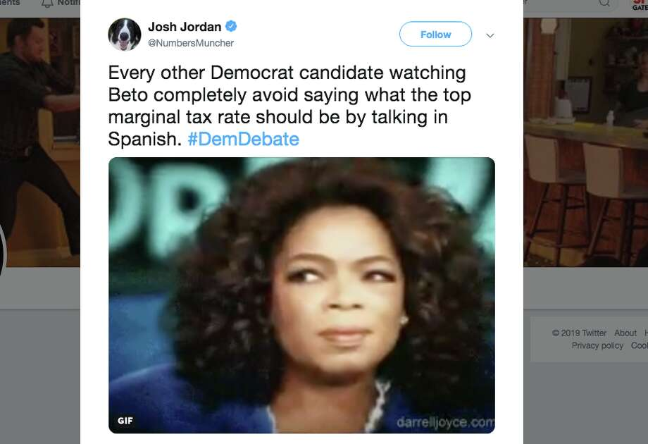 People watching the Democratic Debate on Wednesday dragged Beto O'Rourke for his decision to speak Spanish while answering the first question posed to him during the debate. Photo: Screenshot Via Twitter