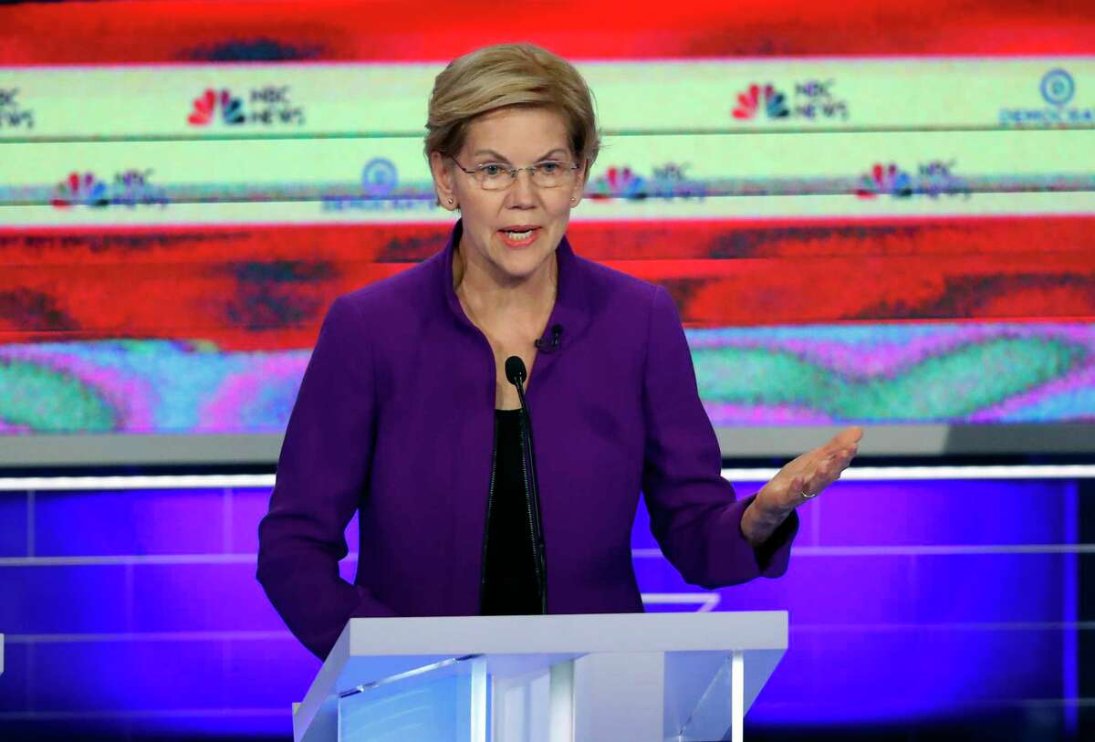 Democratic presidential candidate Sen. Elizabeth Warren, D-Mass., speaks during a Democratic primary debate hosted by NBC News at the Adrienne Arsht Center for the Performing Art, Wednesday, June 26, 2019, in Miami.