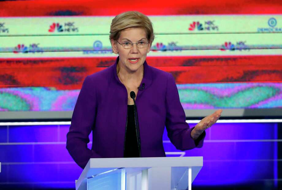 Democratic presidential candidate Sen. Elizabeth Warren, D-Mass., speaks during a Democratic primary debate hosted by NBC News at the Adrienne Arsht Center for the Performing Art, Wednesday, June 26, 2019, in Miami. Photo: Wilfredo Lee, AP / Copyright 2019 The Associated Press. All rights reserved.