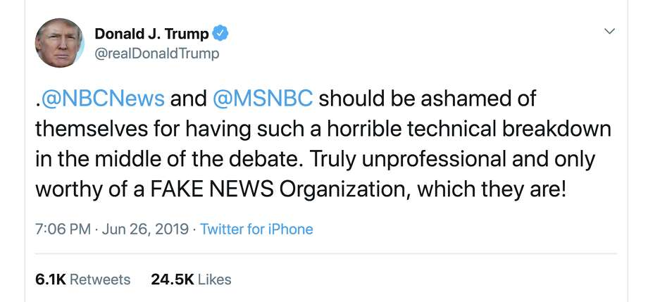 President Donald Trump criticizes the NBC Democratic presidential debate on Twitter. Photo: President Donald J. Trump
