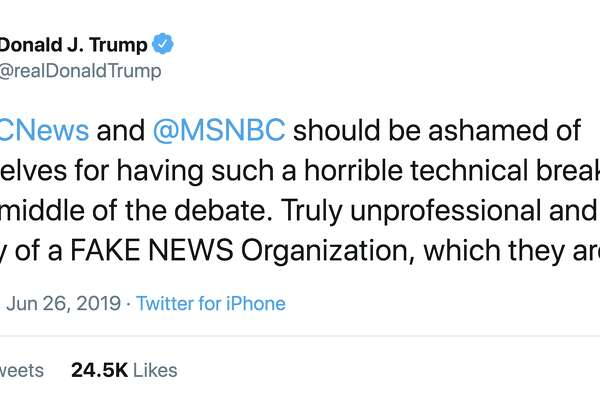 President Donald Trump criticizes the NBC Democratic presidential debate on Twitter.
