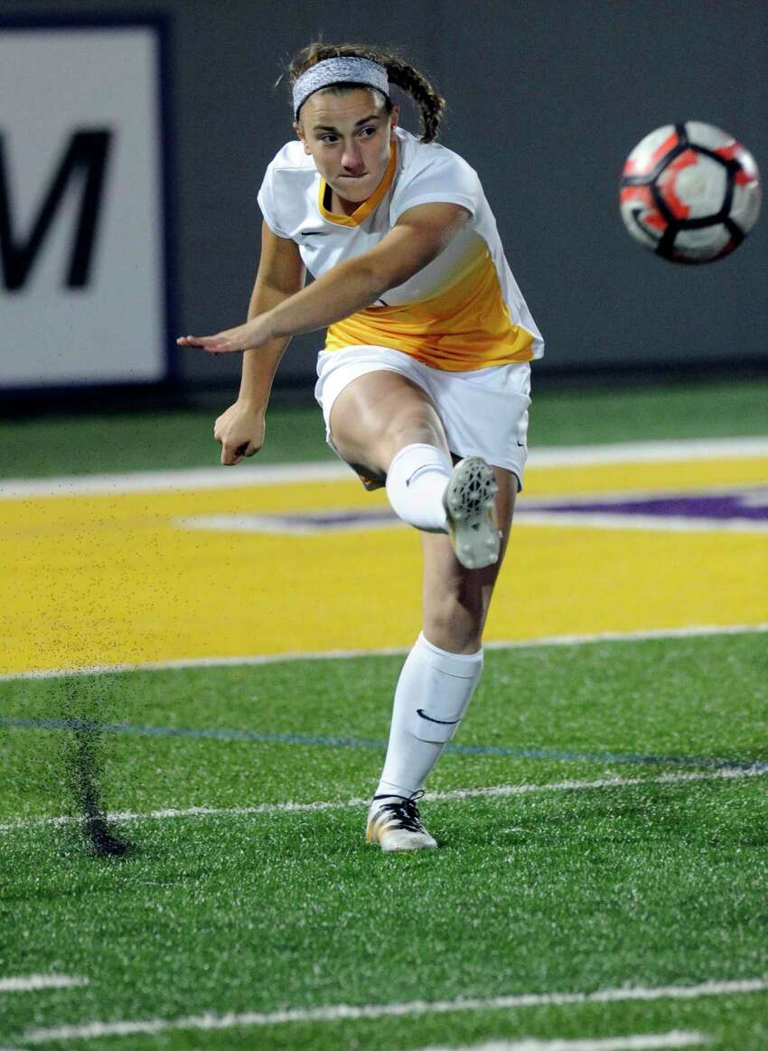 UAlbany's Mariah Williams (5) moves the ball against Hartford during an NCAA women's college soccer final in the America East Conference on Sunday, Nov. 6, 2016, in Albany, N.Y. UAlbany won the game 2-1.(Hans Pennink / Special to the Times Union) ORG XMIT: HP103