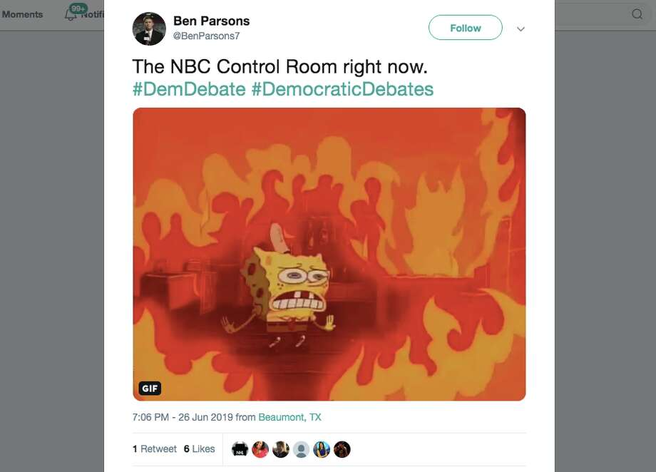 Talk about the technical difficulties NBC News had, Tim Ryan's comments on China, Elizabeth Warren's studious note taking, Beto O'Rourke answering questions and Cory Booker side-eyeing him for it dominated the reactions to night one of the first Democratic debate in Miami. Click through the gallery for more memes from the first 2020 Democratic presidential debate Photo: Screenshot Via Twitter