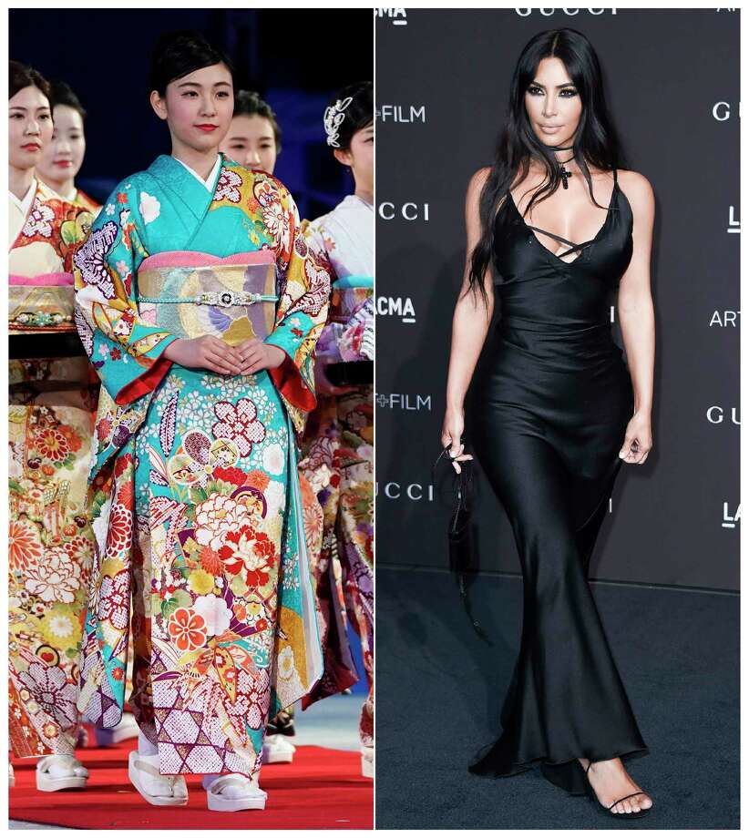 This combination photo shows a woman wearing a kimono during an award ceremony of the ISU World Team Trophy Figure Skating competition in Fukuoka, Japan on April 13, 2019, left, and reality star Kim Kardashian West at the 2018 LACMA Art+Film Gala in Los Angeles on Nov. 3, 2018. West has earned some backlash from Japanese people and others on social media who object to her appropriation of the traditional Japanese kimono as part of the name of her upcoming shapewear line. West announced her Kimono Solutionwear on Instagram, Tuesday, June 25, 2019. Some people on social media said the name, which West trademarked, is an inappropriate take centuries-old kimono clothing.  (AP Photo/Toru Hanai, left, and Richard Shotwell/Invision/AP) / AP