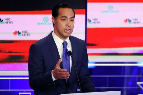 Democratic presidential candidate former Housing and Urban Development Secretary Julian Castro gestures during a Democratic primary debate hosted by NBC News at the Adrienne Arsht Center for the Performing Arts, Wednesday, June 26, 2019, in Miami. (AP Photo/Wilfredo Lee)