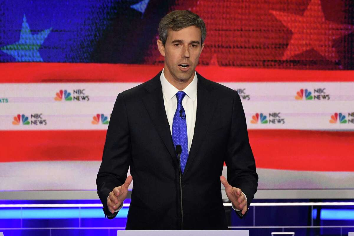 Democratic presidential hopefuls former US Representative for Texas' 16th congressional district Beto O'Rourke participates in the first Democratic primary debate of the 2020 presidential campaign season hosted by NBC News at the Adrienne Arsht Center for the Performing Arts in Miami, Florida, June 26, 2019. (Photo by JIM WATSON / AFP)JIM WATSON/AFP/Getty Images