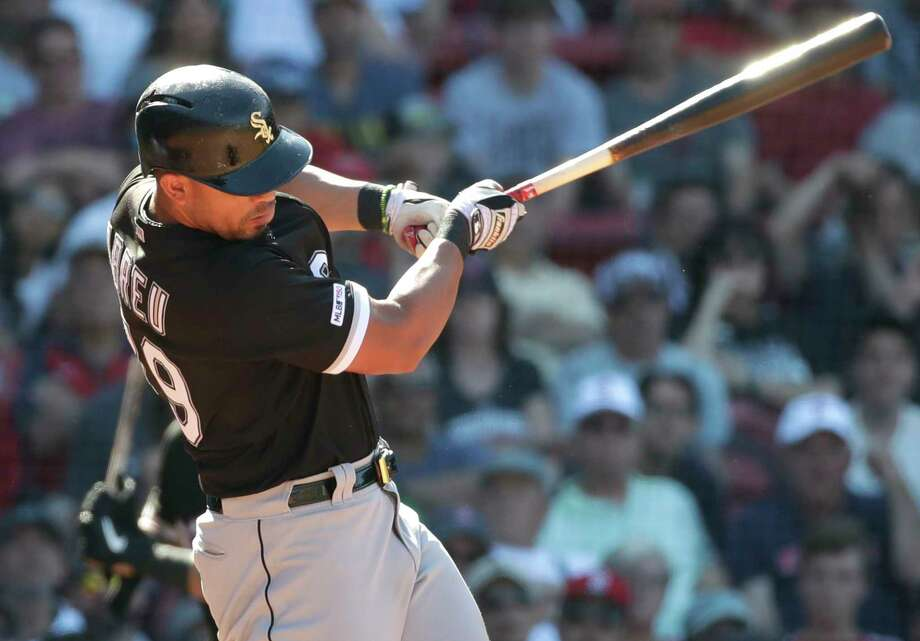 Chicago White Sox's Jose Abreu hits a two-run homer in the ninth inning of a baseball game against the Boston Red Sox at Fenway Park, Wednesday, June 26, 2019, in Boston. (AP Photo/Elise Amendola) Photo: Elise Amendola / Copyright 2019 The Associated Press. All rights reserved