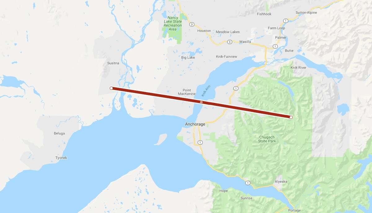 San Antonio's distance compared to Anchorage, Alaska.