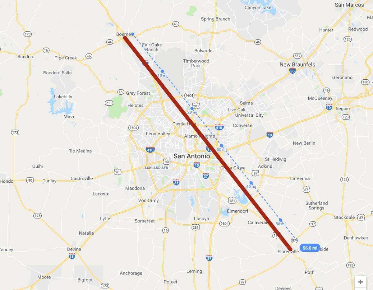 A drive from one end of the San Antonio area to the other - from Boerne to Floresville (about 56 miles) - would take travelers clear across several cities, states, and countries.