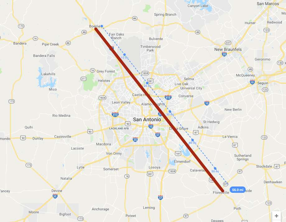 A drive from one end of the San Antonio area to the other — from Boerne to Floresville (about 56 miles) — would take travelers clear across several cities, states, and countries. Photo: Google MyMaps
