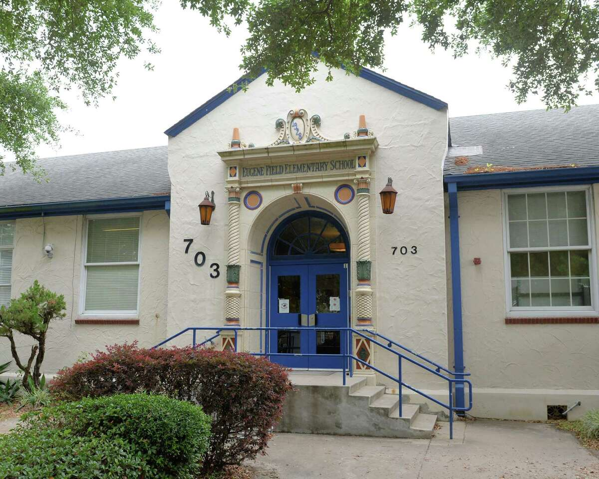 A date over the main entrance to Field Elementary School shows it was built in 1928. April 26, 2017.