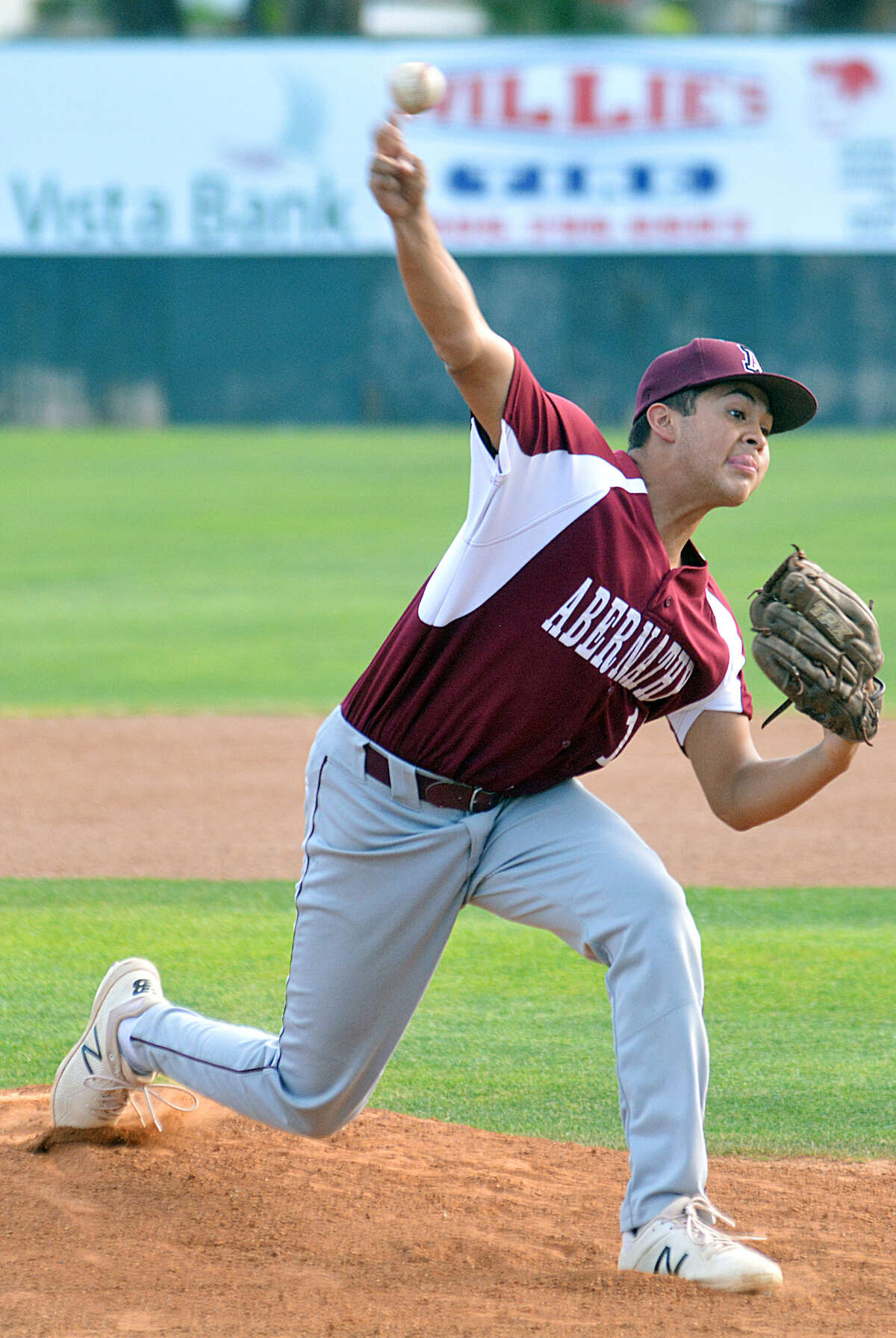 Abernathy pitcher Nick DeAnda fires to the plate.