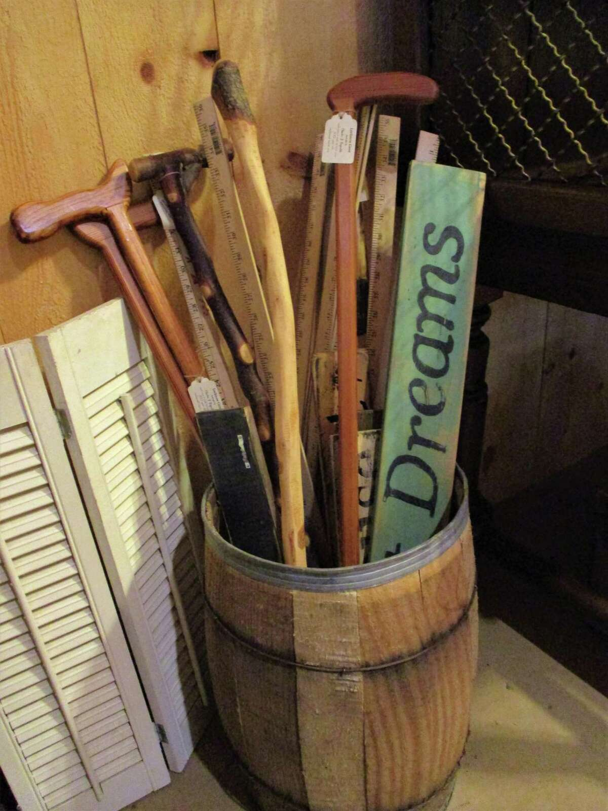 Handcrafted canes made from heart pine are part of the eclectic mix of wares at All-Wright Acres.