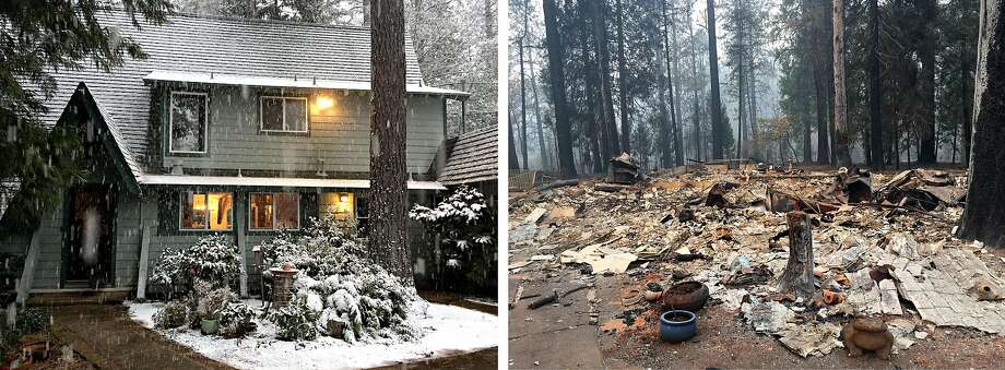Left: The Lighthall family home in Paradise in February 2018, before the Camp Fire. Right: The home on Nov. 14, 2018, after the wildfire destroyed it along with almost everything else in town. Photo: Courtesy Lighthall Family