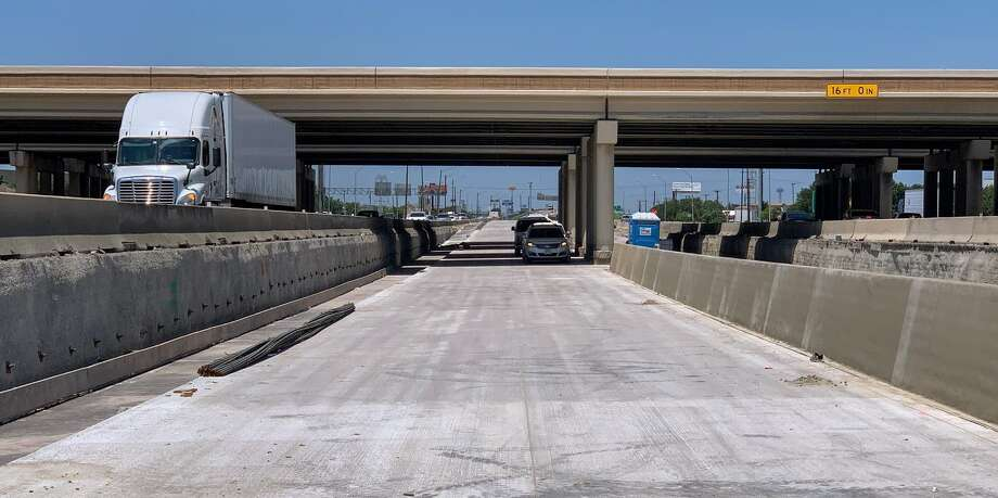 I-10 eastbound traffic in Far East San Antonio will be diverted to new permanent mainlanes, which are actually below the existing mainlanes to provide additional clearance under the I-410 overpass. Photo: Twitter: TxDOT San Antonio