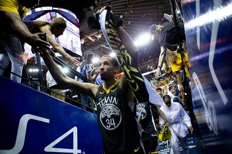 Golden State Warriors guard Shaun Livingston (34) exits following Game 6 of the NBA Finals at Oracle Arena on Thursday, June 13, 2019, in Oakland, Calif. The Toronto Raptors won the game 114-110 and won the NBA Finals with a 4-2 series.