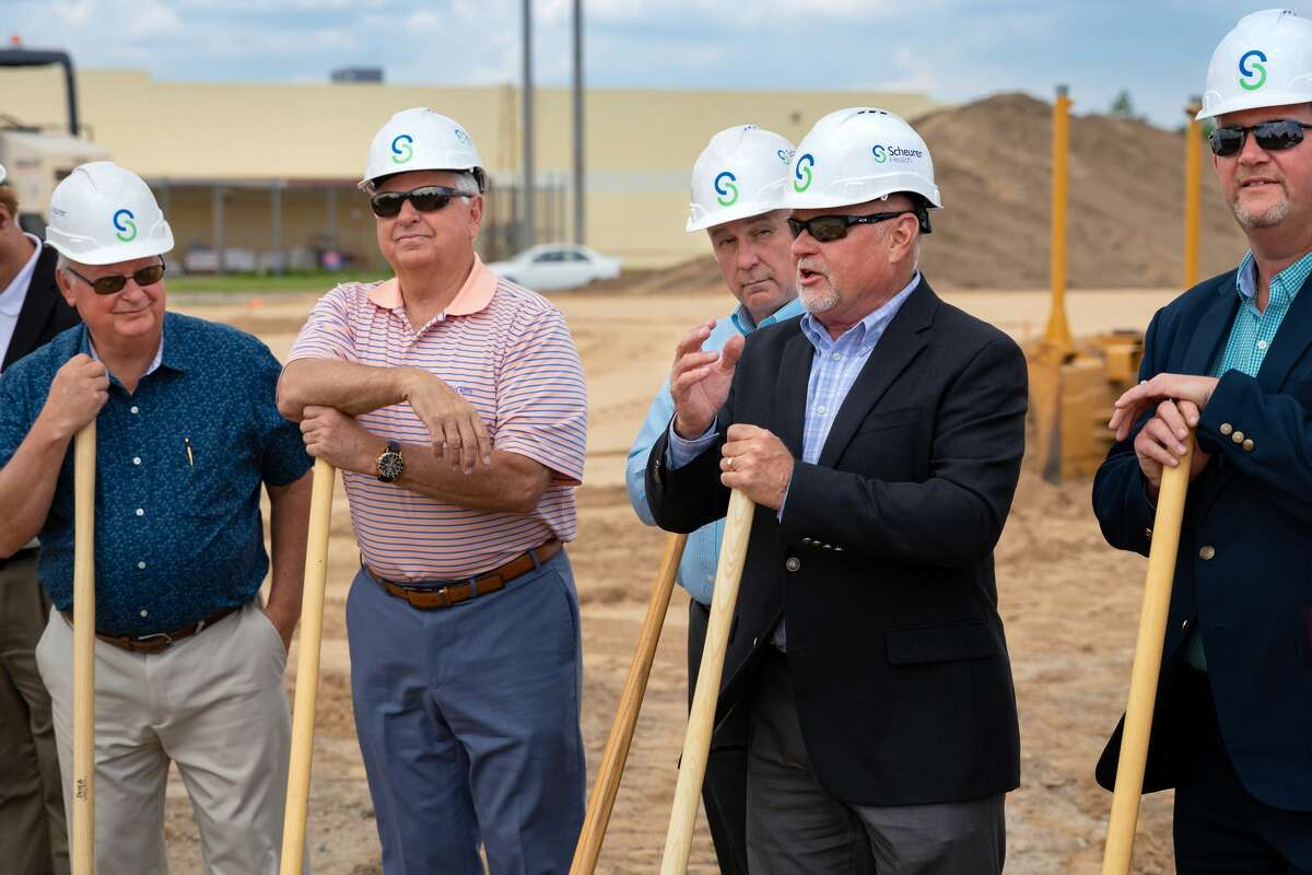 Terrance E. Lerash, President & CEO of Scheurer Hospital, addresses the crowd at the groundbreaking ceremony.