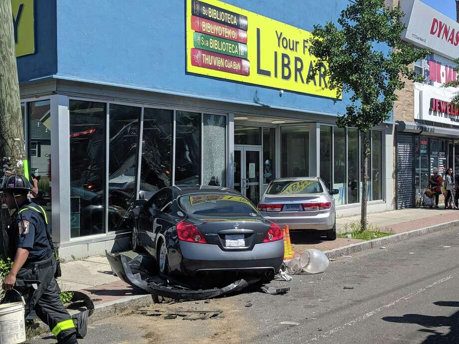 Two cars crashed into a building in Bridgeport, Conn., on Thursday, June 27, 2019. Photo: Contributed Photo