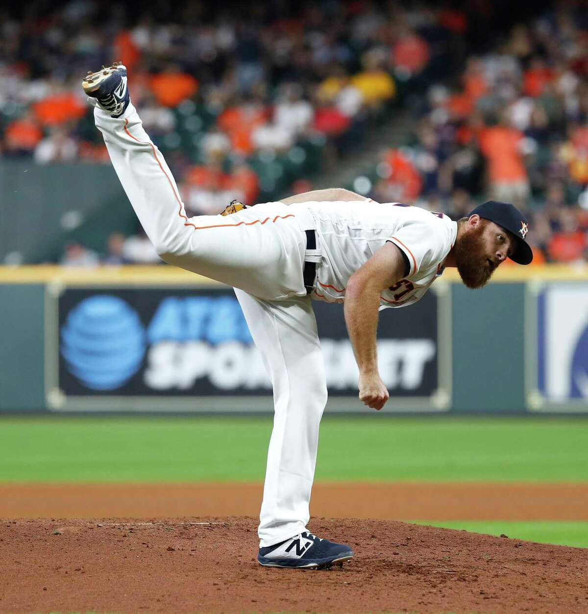 Houston Astros Cy Sneed (67) replaces Brad Peacock during the fourth inning of an MLB baseball game at Minute Maid Park, Thursday, June 27, 2019, in Houston.