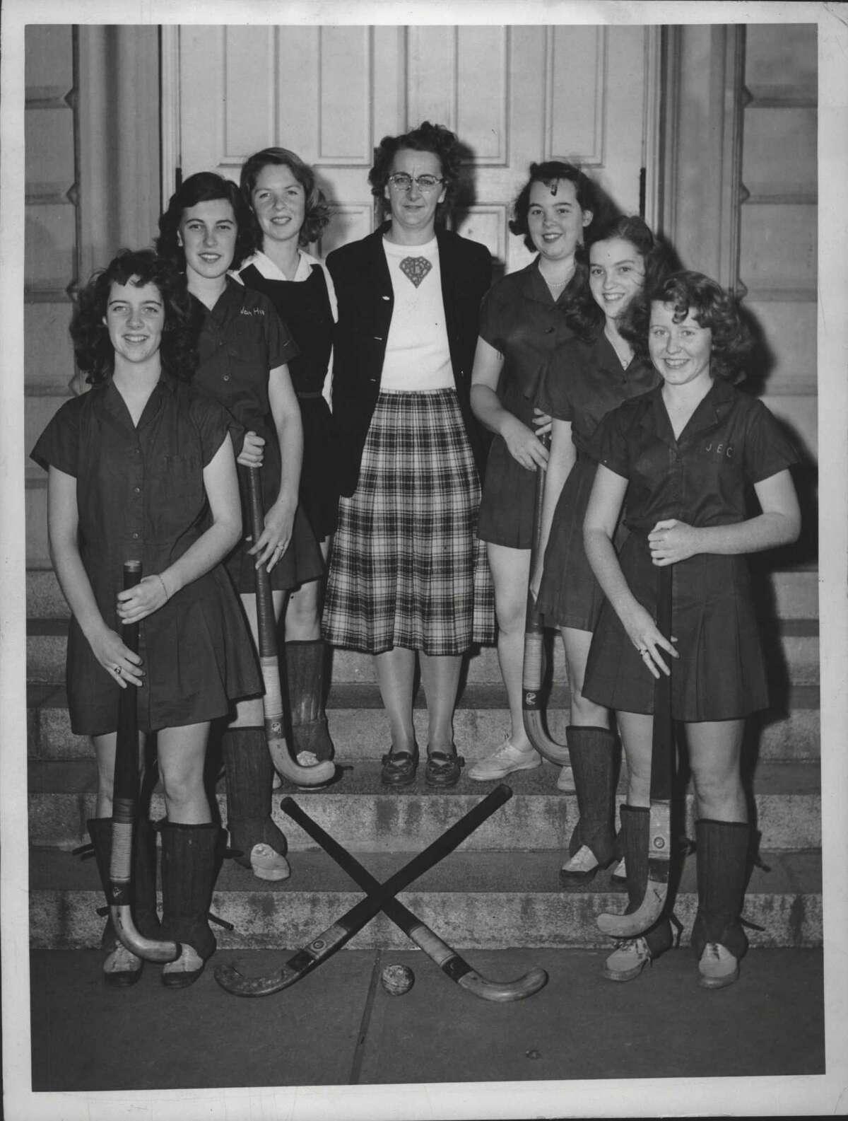 Milne High School field hockey team & coach, Albany, New York - Beverly Orrett, Janet Hicks, Barbara Leete, Lydia Murray - Coach, Helen Bigley, Helen Cupp, and Joan Clark. May 17, 1949 (Times Union Archive)