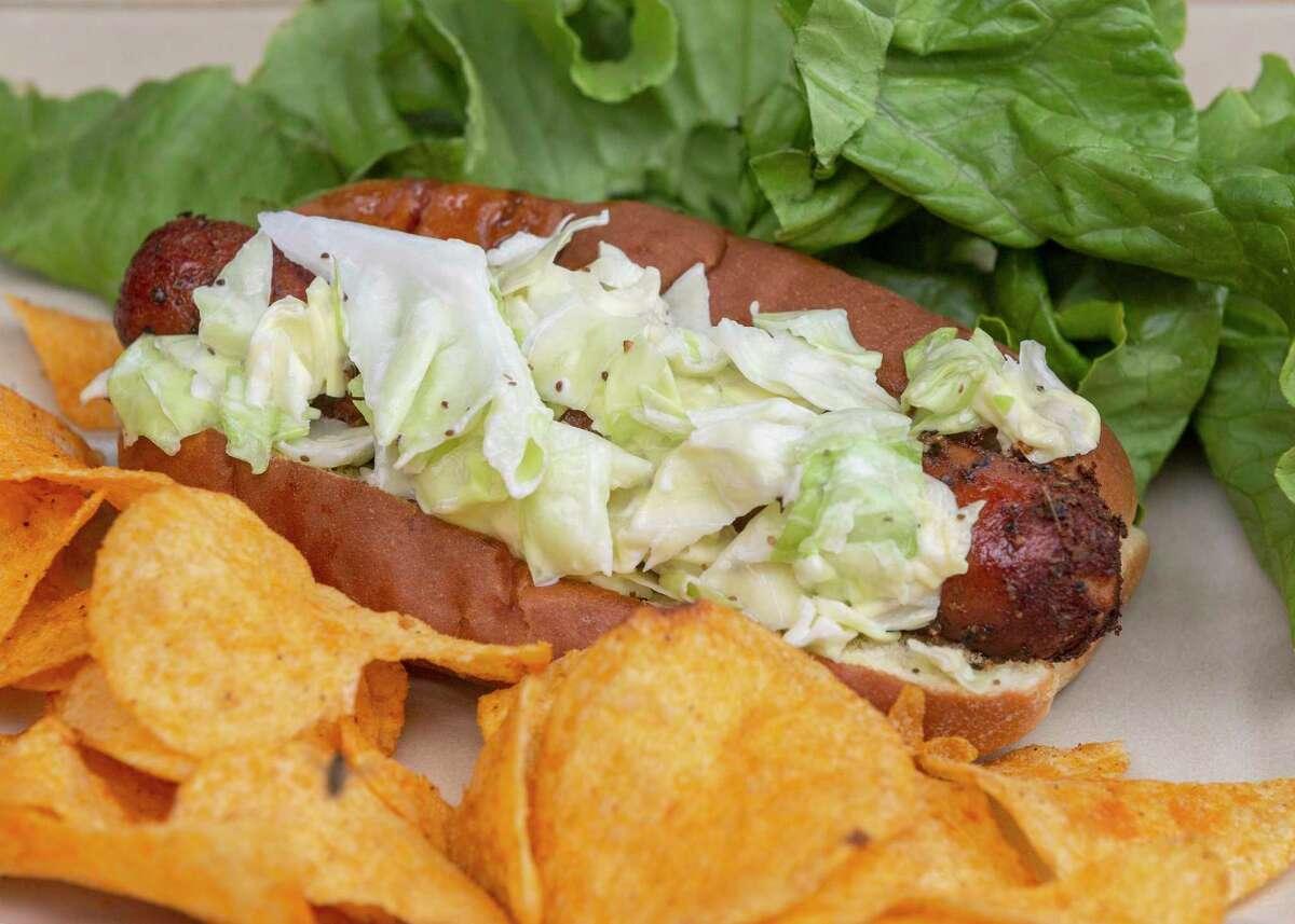 Smoked Hot Dog with Carolina Coleslaw